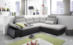 Ecksofa JAK Couch Schlafcouch Sofa Lederlook schwarz hellgrau L-Form rechts1