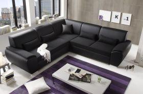 Ecksofa Kombiecke Couch Schlafcouch Funktionssofa ausziehbar schwarz 272 cm1