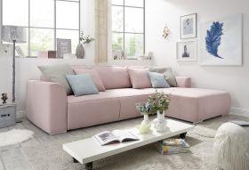 Ecksofa LAZY Couch Schlafcouch Schlafsofa ausziehbar flamingo rosa  L-Form1
