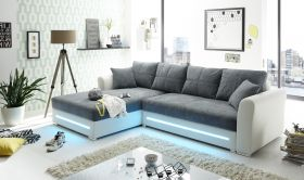 Ecksofa Sofa Couch Schlafcouch Schlafsofa LED weiß anthrazit L-Form links1