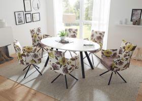 Essgruppe JEAN Esstisch mit Stühlen Tischgruppe ausziehbar Glas weiß oval1