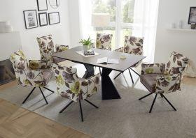 Essgruppe ROBINSON Tischgruppe 6 Stühle ausziehbar Keramik rechteckig braun 1601