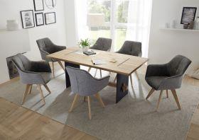 Esstisch MARES Esszimmer Tisch Massivholz Eiche Metall Natur eckig 180cm1