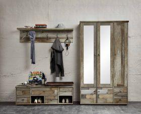 Garderobe BONANZA 3-TLG Garderobenschrank Paneel Bank Driftwood Nachbildung1