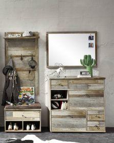 Garderobe BONANZA 4-TLG Paneel Spiegel Schuhkommode Bank Driftwood Nachbildung1