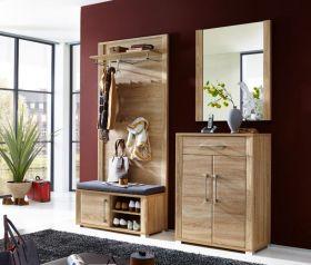 Garderobe GO 4-tlg Paneel Bank Schuhschrank Spiegel Eiche Sonoma1