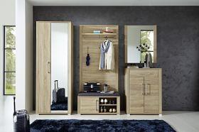Garderobe GO 5-tlg Garderobenschrank Paneel Bank Schuhschrank Spiegel Eiche1