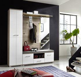 Garderobe PLUS 3-teilig Kompaktgarderobe Schrank Paneel Bank in Weiß1