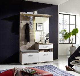 Garderobe PLUS 3-teilig Kompaktgarderobe Schuhschrank Paneel Bank in Weiß1