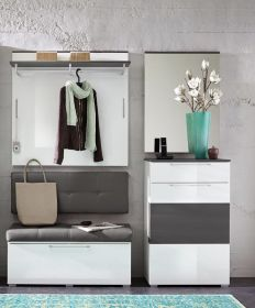 Garderobe RENO 4-TLG Paneel Spiegel Schuhschrank Bank in Weiß Hochglanz und Ab1