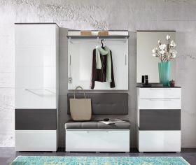 Garderobe RENO 5-TLG Hochschrank Paneel Spiegel Schuhschrank Bank in Weiß Grau1