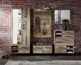 garderobe-set-roof1-5-tlg-hochschrank-paneel-spiegel-kommode-bank-braun-metall1