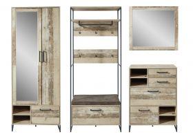 garderobe-set-roof2-4-tlg-hochschrank-paneel-spiegel-kommode-bank-braun-metall1
