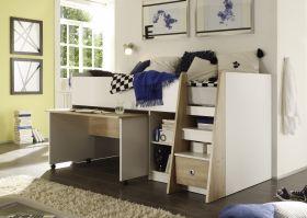 Hochbett Jugendbett Kinderbett Bett Etagenbett Stockbett Schreibtisch Eiche Weiß1