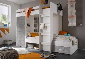 Hochbett MAXI Jugendbett Kinderbett Bett Etagenbett Kleiderschrank grau Beton1