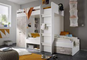 Hochbett MAXI Jugendbett Kinderbett Bett Etagenbett Kleiderschrank Weiß1
