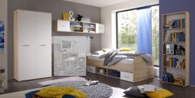 Jugendzimmer Set NANU 4 teilg Komplettset Bett Schrank Regal Hängeregal Eiche1