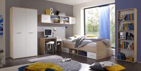 Jugendzimmer-Set NANU Kinderzimmer 5tlg Komplett Set Eiche Weiß1