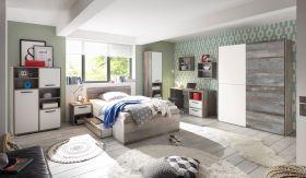 Kinderzimmer MOON Jugendzimmer Komplett-Set 7tlg STSchrank Bett Driftwood weiß1