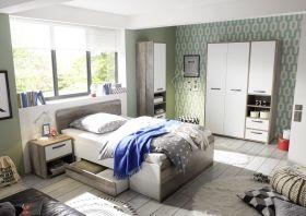 Kinderzimmer MOON Jugendzimmer Set 4tlg Schrank Bett Nako Regal Driftwood weiß1