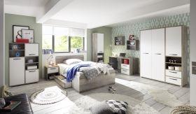 Kinderzimmer-Set MOON Jugendzimmer Komplett-Set 7tlg Schrank Bett Driftwood weiß1