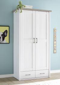 Kleiderschrank 2-türig LUCA Babyzimmer Kinderzimmer Pinie weiß 106cm1