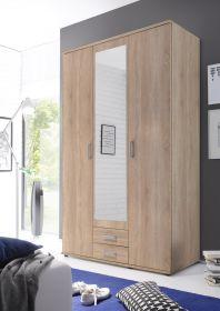 Kleiderschrank Drehtüren Schrank Schlafzimmerschrank Eiche mit Spiegel 120 cm1