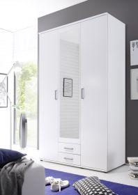Kleiderschrank Drehtüren Schrank Schlafzimmerschrank weiß mit Spiegel 120 cm1