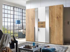 kleiderschrank-schrank-drehtueren-schlafzimmer-225cm-spiegel-braun-eiche-weiss1