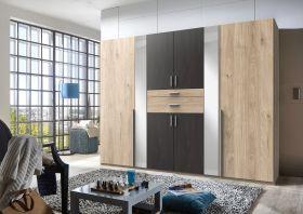 kleiderschrank-schrank-drehtueren-schlafzimmer-270-spiegel-braun-eiche-stahloptik1