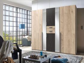 kleiderschrank-schrank-drehtueren-schlafzimmer-spiegel-braun-eiche-stahloptik1