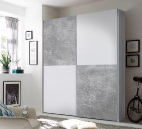 Kleiderschrank Schwebetürenschrank Schlafzimmer 170cm Weiß Schachbrett Beton1