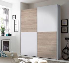 Kleiderschrank Schwebetürenschrank Schlafzimmer 170cm Weiß Schachbrett Eiche1