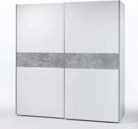 Kleiderschrank Schwebetürenschrank Schrank Schlafzimmer 170cm Weiß Beton optik1