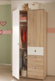Kleiderschrank WIKI 2 Tür Schrank Kinderzimmer Jugendzimmer Sonoma Weiß1