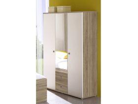 Kleiderschrank WIKI 3 Tür Schrank Spiegel Kinderzimmer Jugendzimmer Sonoma Weiß1