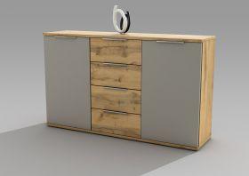 Kommode CAPRI Sideboard Wohnzimmer Schlafzimmer Flur Wildeiche grau 150cm1