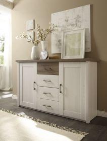 Kommode LUCA Sideboard Wohnzimmer Schlafzimmer Weiß Braun 4 Schubladen 2 Türen1