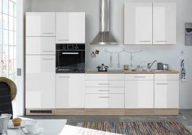 Küche LAUREL Küchenblock Küchenzeile Komplettküche 310cm Miniküche weiß Sonoma1