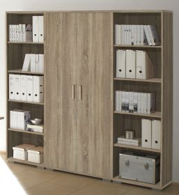 Regalwand Regal Regal-Set OFFICE LINE Aktenschrank Aktenregal Schrank Büro Eiche1