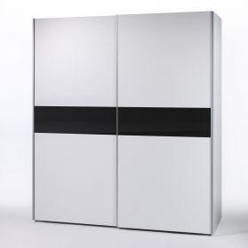 Schiebetüren Kleiderschrank Schwebetürenschrank Schrank Weiß Schwarz 215 x 2101