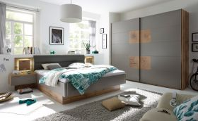 Schlafzimmer Komplett Set 4-tlg CAPRI Bett 180 Kleiderschrank grau Wildeiche1