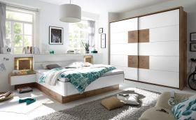 Schlafzimmer Komplett Set 4-tlg CAPRI Bett 180 Kleiderschrank weiß Wildeiche1