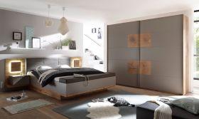 Schlafzimmer Komplett Set 4-tlg CAPRI XL Bett 180 Kleiderschrank grau Wildeiche1