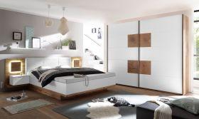 Schlafzimmer Komplett Set 4-tlg CAPRI XL Bett 180 Kleiderschrank weiß Wildeiche1
