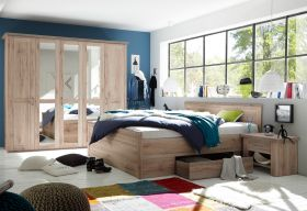 Schlafzimmer Komplett Set 4-tlg LUCA Bett 180 Kleiderschrank kommoden Eiche1