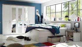 Schlafzimmer Komplett Set 4-tlg LUCA Bett 180 Kleiderschrank kommoden Weiß1