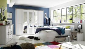 Schlafzimmer Komplett Set 5-tlg Bett 180 Kleiderschrank Kommoden Pinie Weiß1