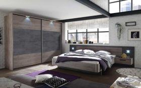 Schlafzimmer Komplett Set Bett 180 Kleiderschrank 270 Eiche Beton braun grau LED1