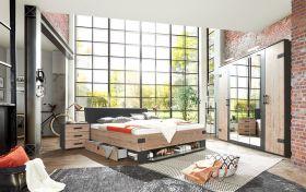 schlafzimmer-komplett-set-stockholm-bett-kleiderschrank-225cm-graubraun-spiegel1
